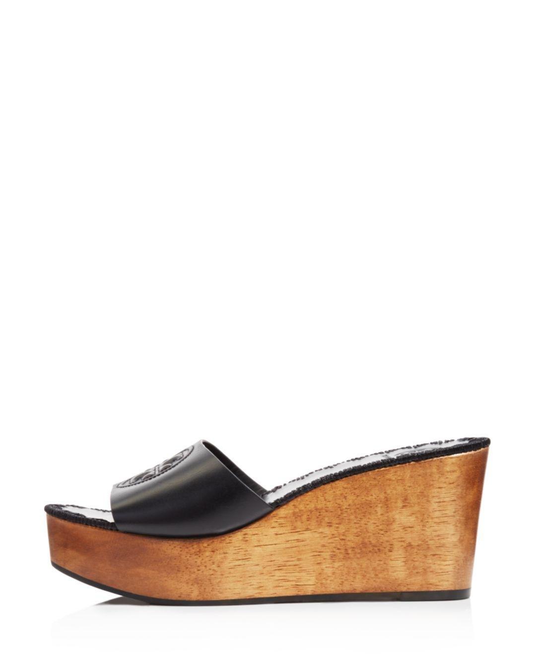 b46c9cd2f4f8 Lyst - Tory Burch Women s Patty Leather Platform Wedge Slide Sandals ...