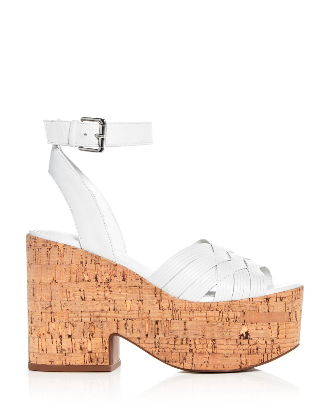 4739a750fdb4 Lyst - Sigerson Morrison Women s Becca Leather Platform Wedge Sandals in  White - Save 52%