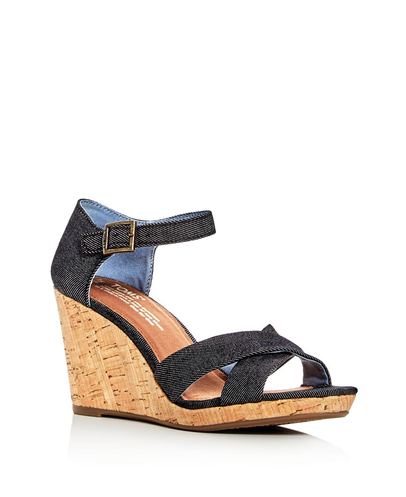 af86e864c96 Lyst - TOMS Women s Sienna Denim Ankle Strap Wedge Sandals in Black