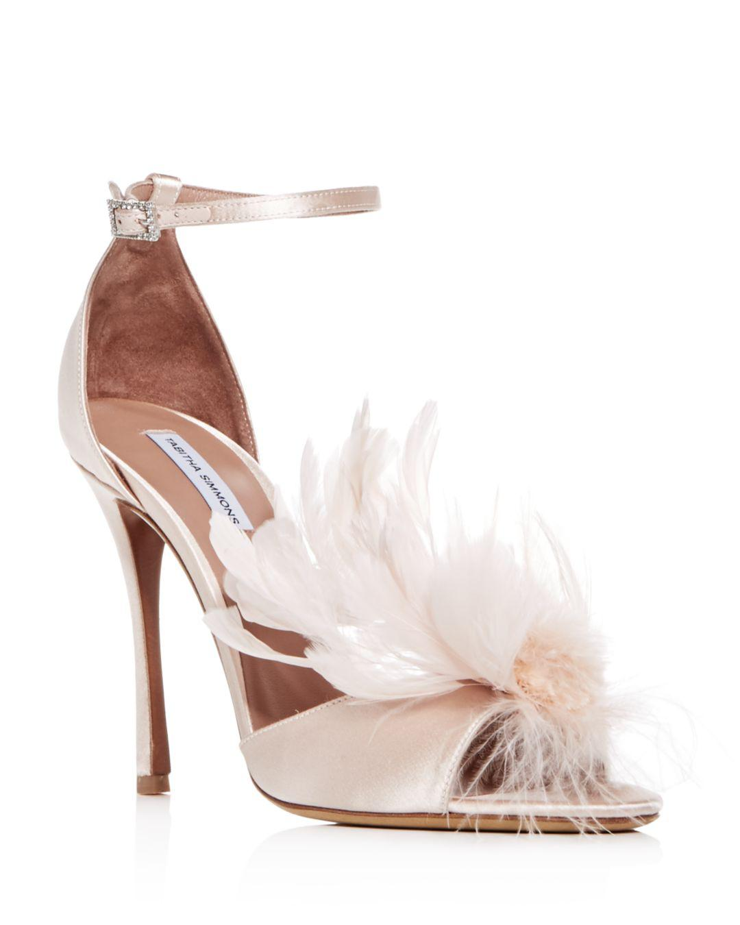17a317c2ff8 Lyst - Tabitha Simmons Women s Satin   Feather High-heel Sandals in Pink