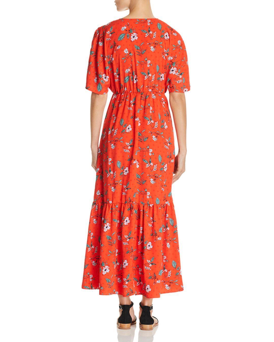 69097080700 Vero Moda Ava Floral - Print Maxi Dress in Red - Lyst