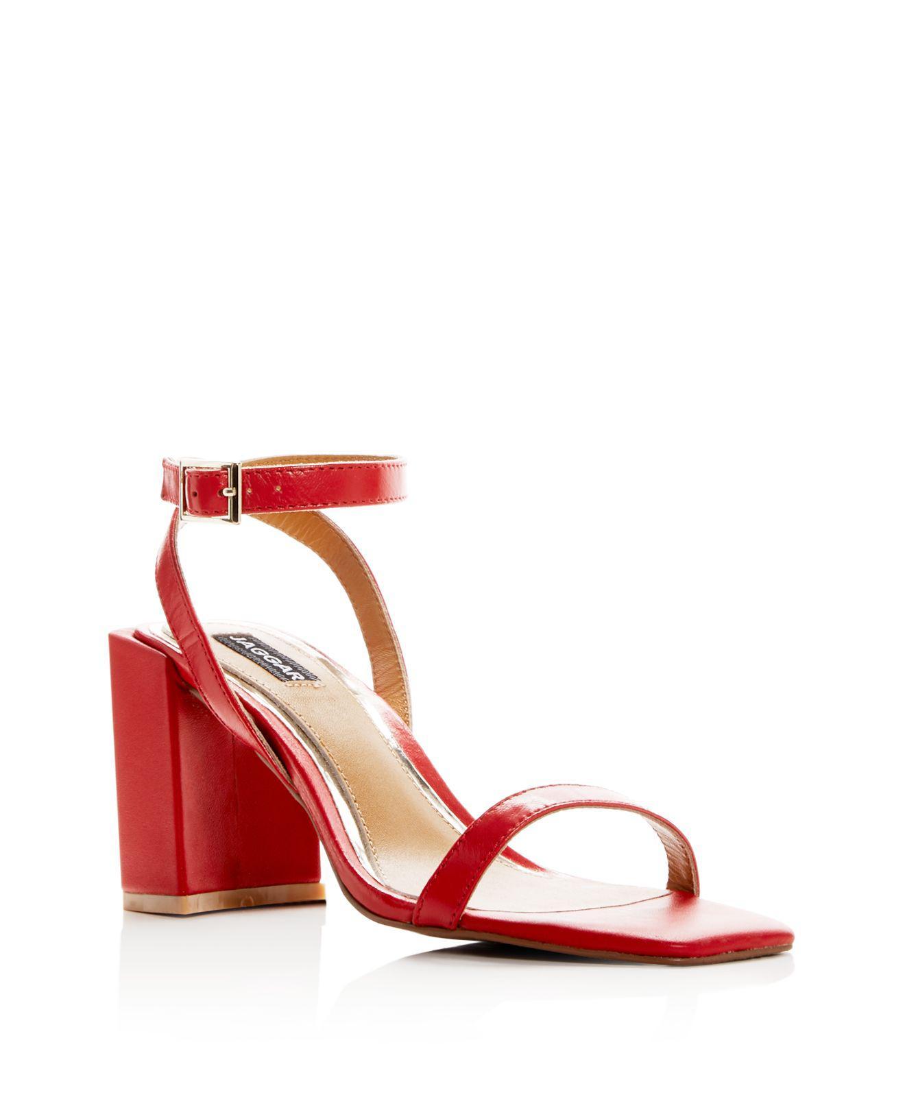 JAGGAR Women's Squared Leather Block Heel Sandals gkTyiycD