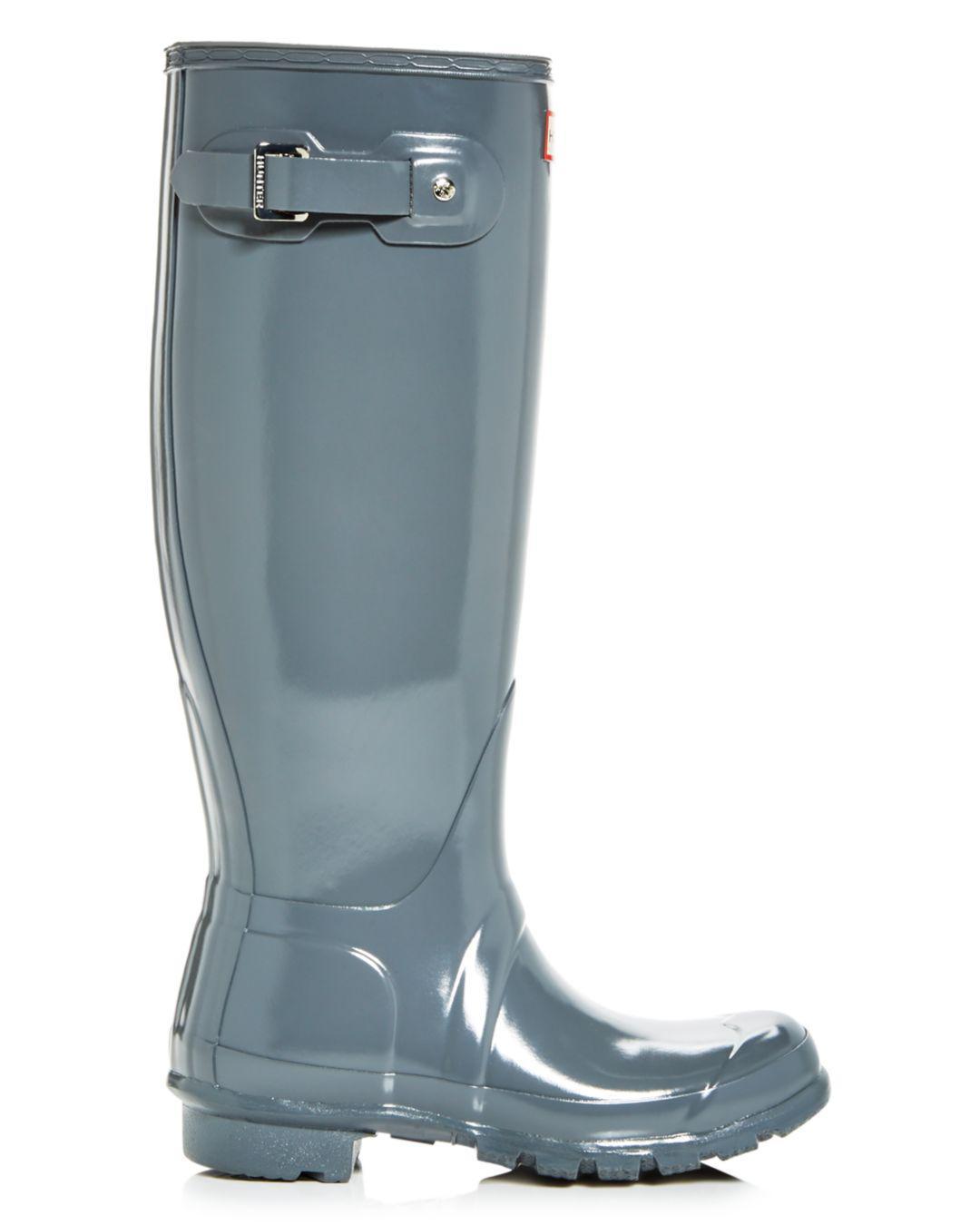 b469e6933d42 Lyst - HUNTER Women s Original Tall Gloss Rain Boots in Gray - Save 6%