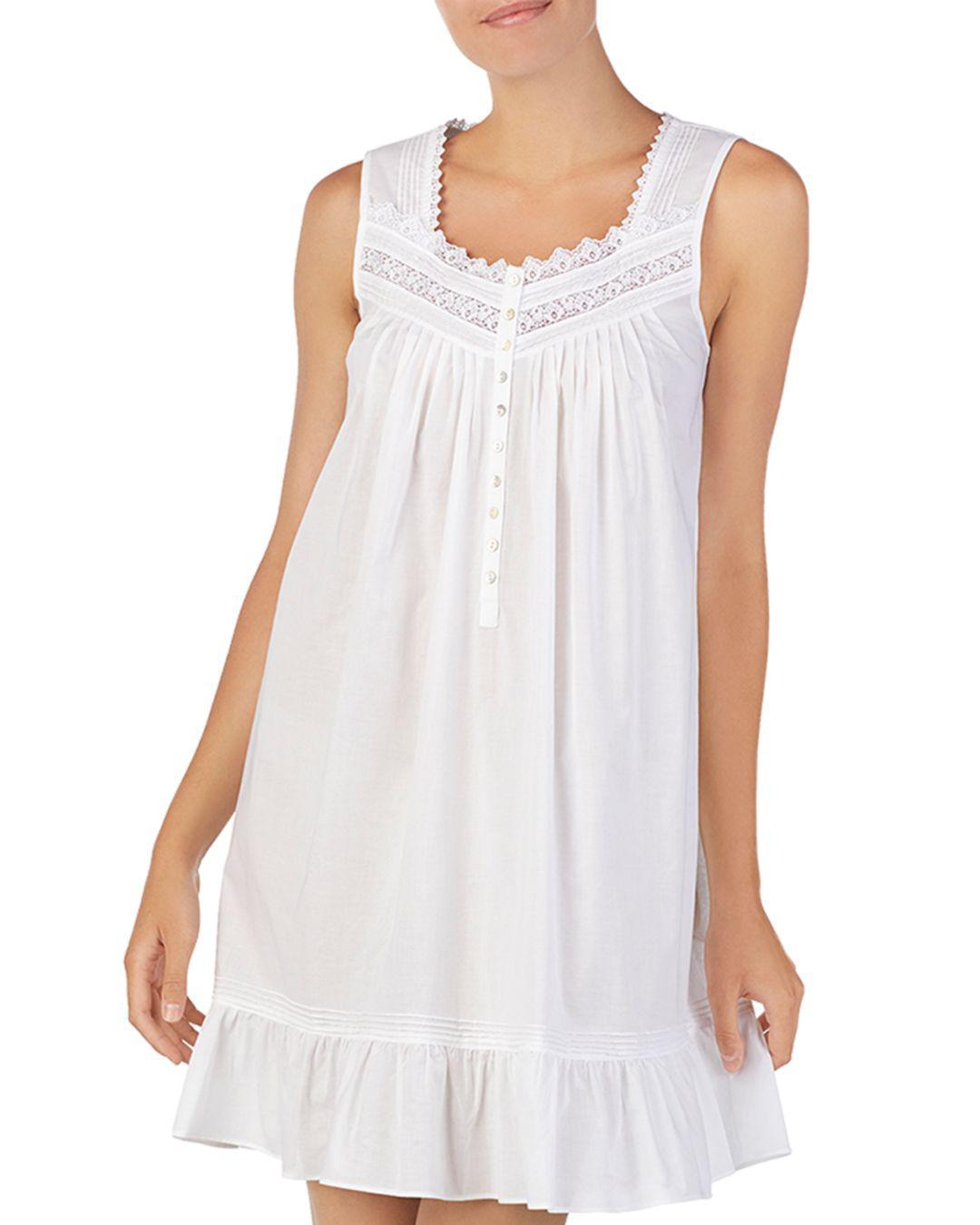 06efb3afba Eileen West Sleeveless Short Cotton Ballet Nightgown in White - Lyst