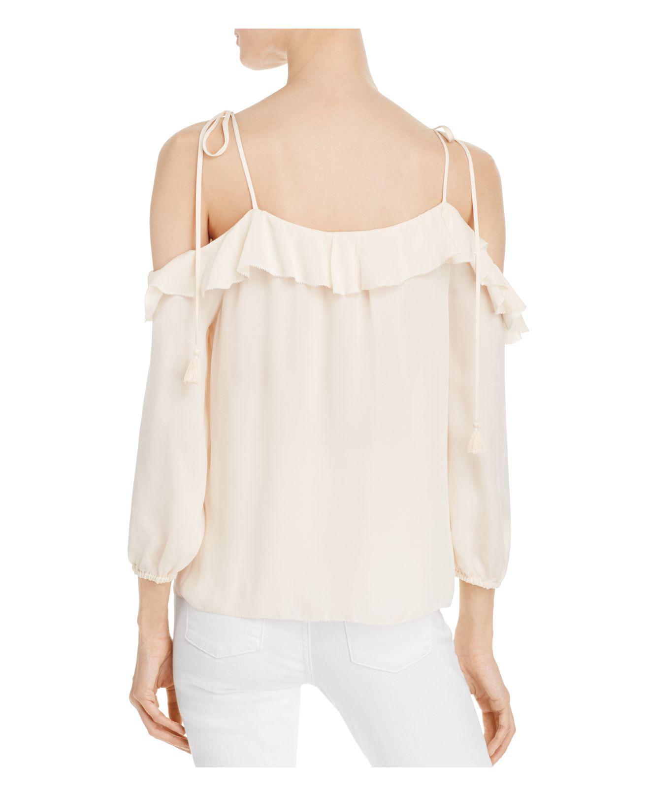 0d21ba97d8139f Lyst - Joie Eukene Cold-shoulder Silk Top