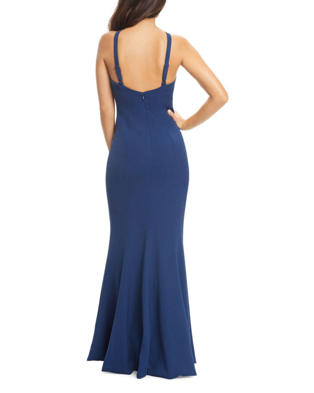 Lyst Dress The Population Brianna High Neck Mermaid Gown In Blue