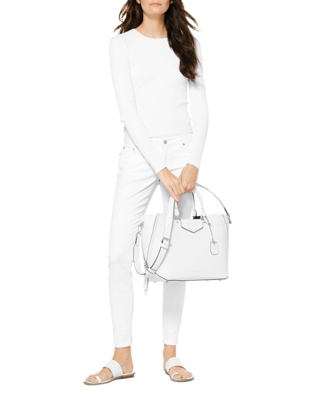8b970052a9b1b Lyst - MICHAEL Michael Kors Blakely Large Leather Tote in White