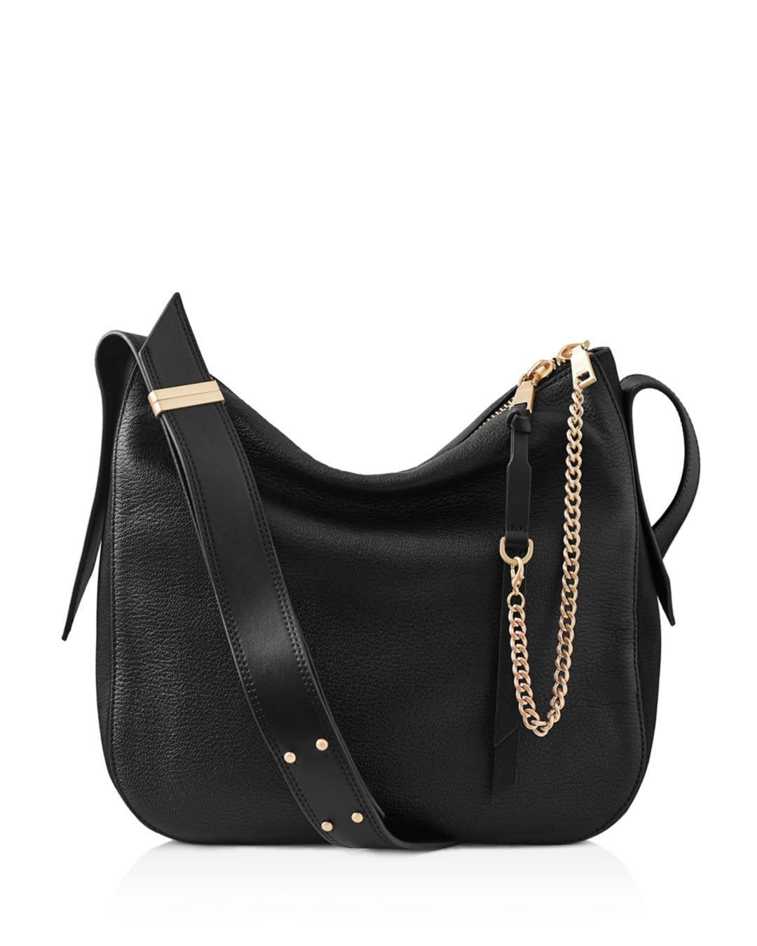 14969e8c63 Lyst - Reiss Relaxed Leather Shoulder Bag in Black