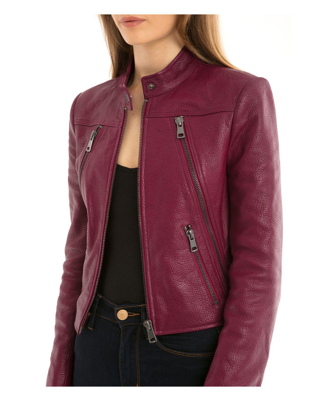 Lyst Bagatelle Nyc Zip Detail Leather Moto Jacket