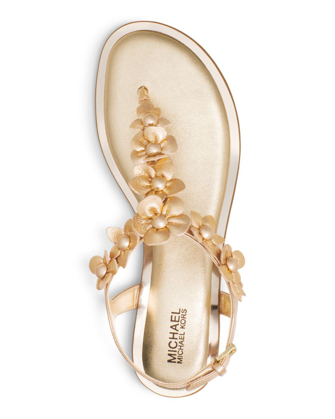 42e7e394828a Lyst - MICHAEL Michael Kors Women s Tricia Leather Thong Sandals in ...