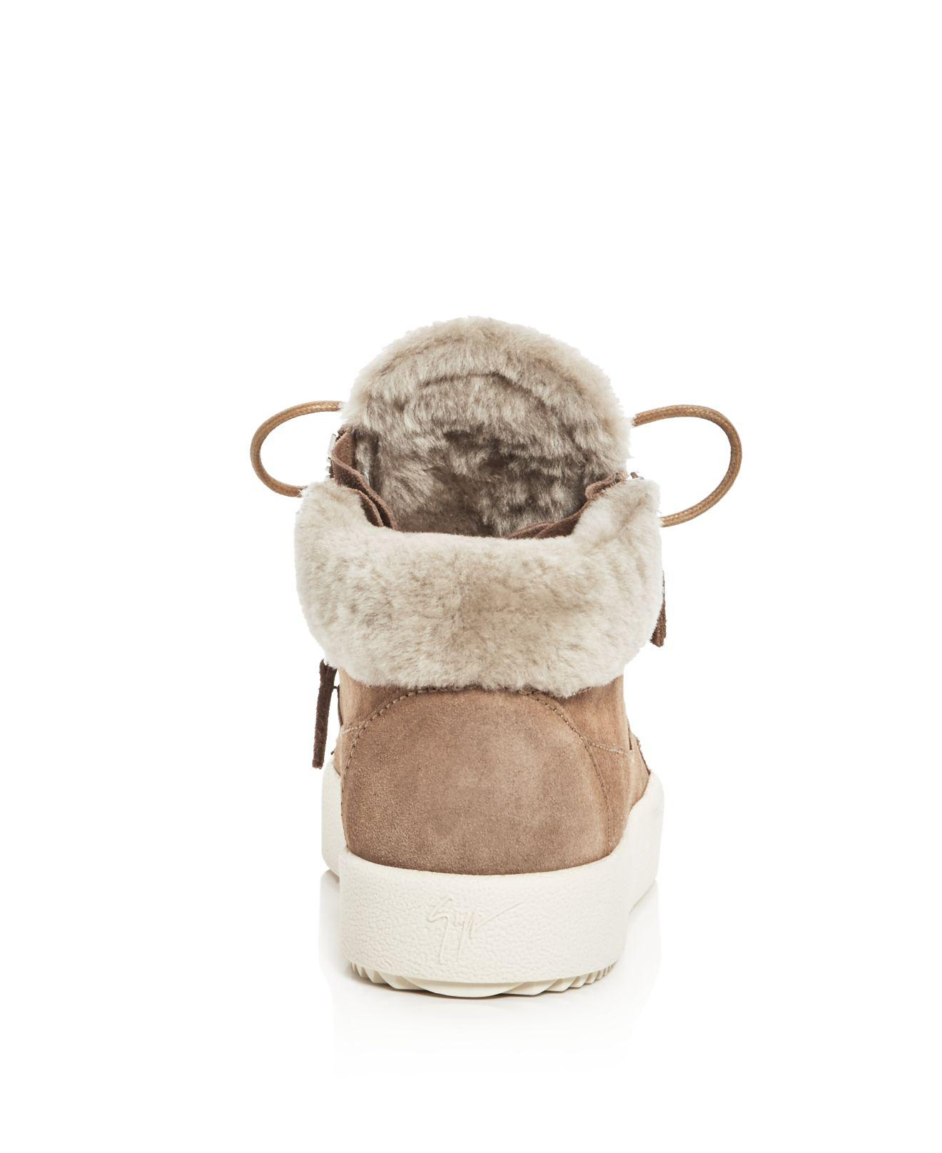 f5308a0a74aa4c Lyst - Giuseppe Zanotti Women s May London Suede Shearling Lined Mid ...