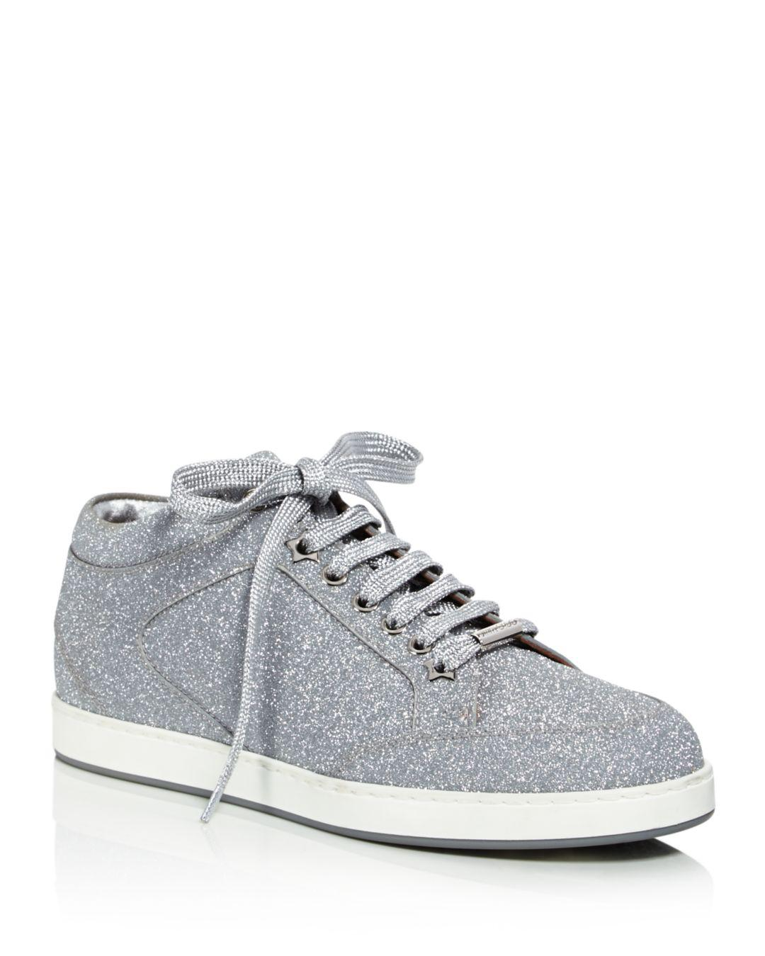 3bcf0efac449 Jimmy Choo. Metallic Women s Miami Glitter Leather Low Top Lace Up Sneakers