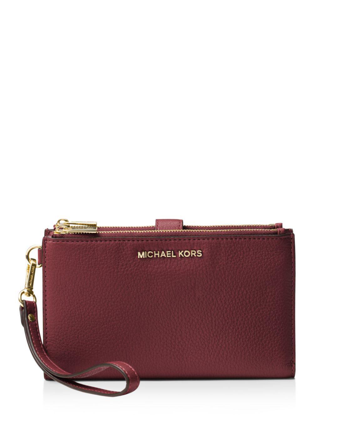 114af83fda18c Michael Michael Kors Adele Double Zip Leather Iphone 7 Plus 8 Plus ...