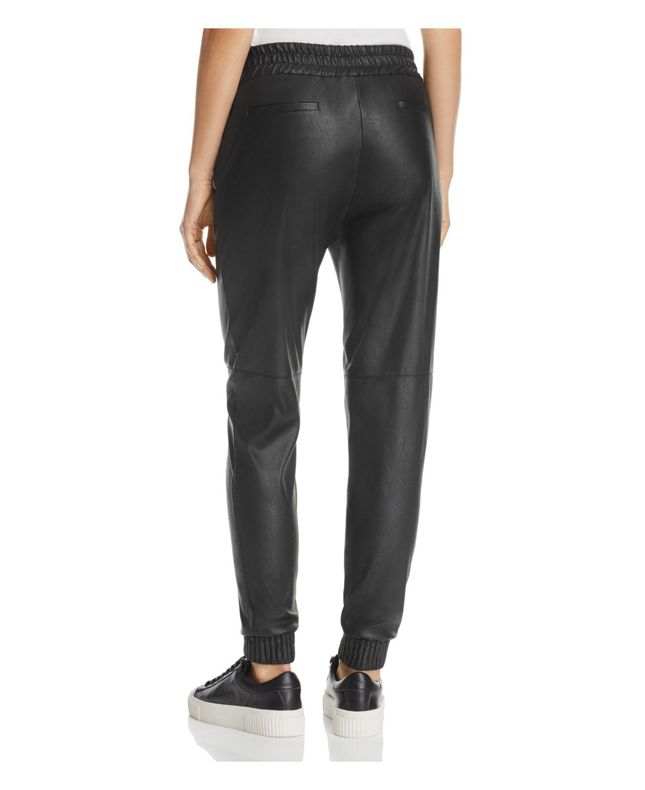 98b357dbeb308d Lyst - Rebecca Taylor Faux-leather Track Pants in Black