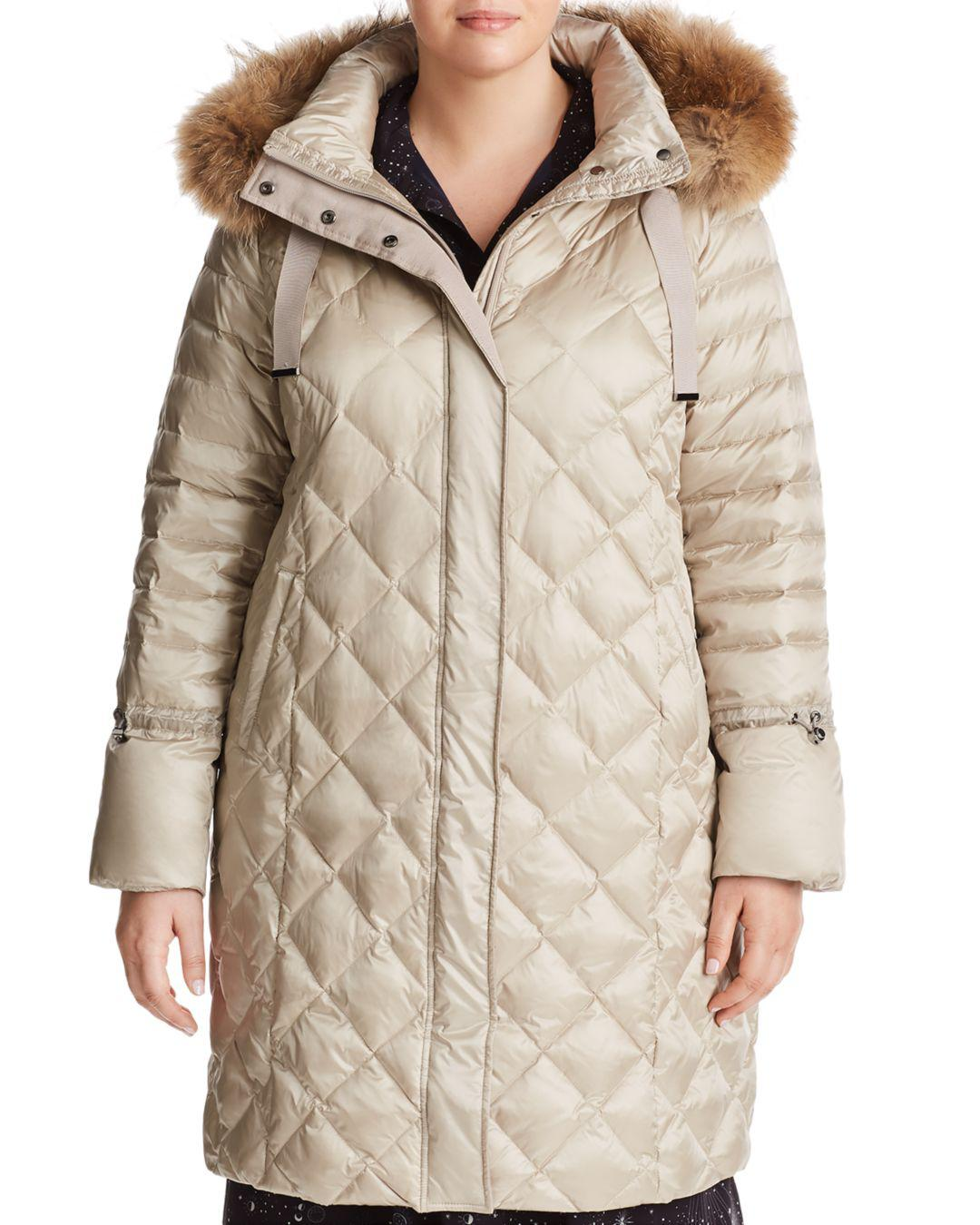Marina Rinaldi Panacea Fur-trimmed Down Coat in Natural - Lyst 78189f895f0