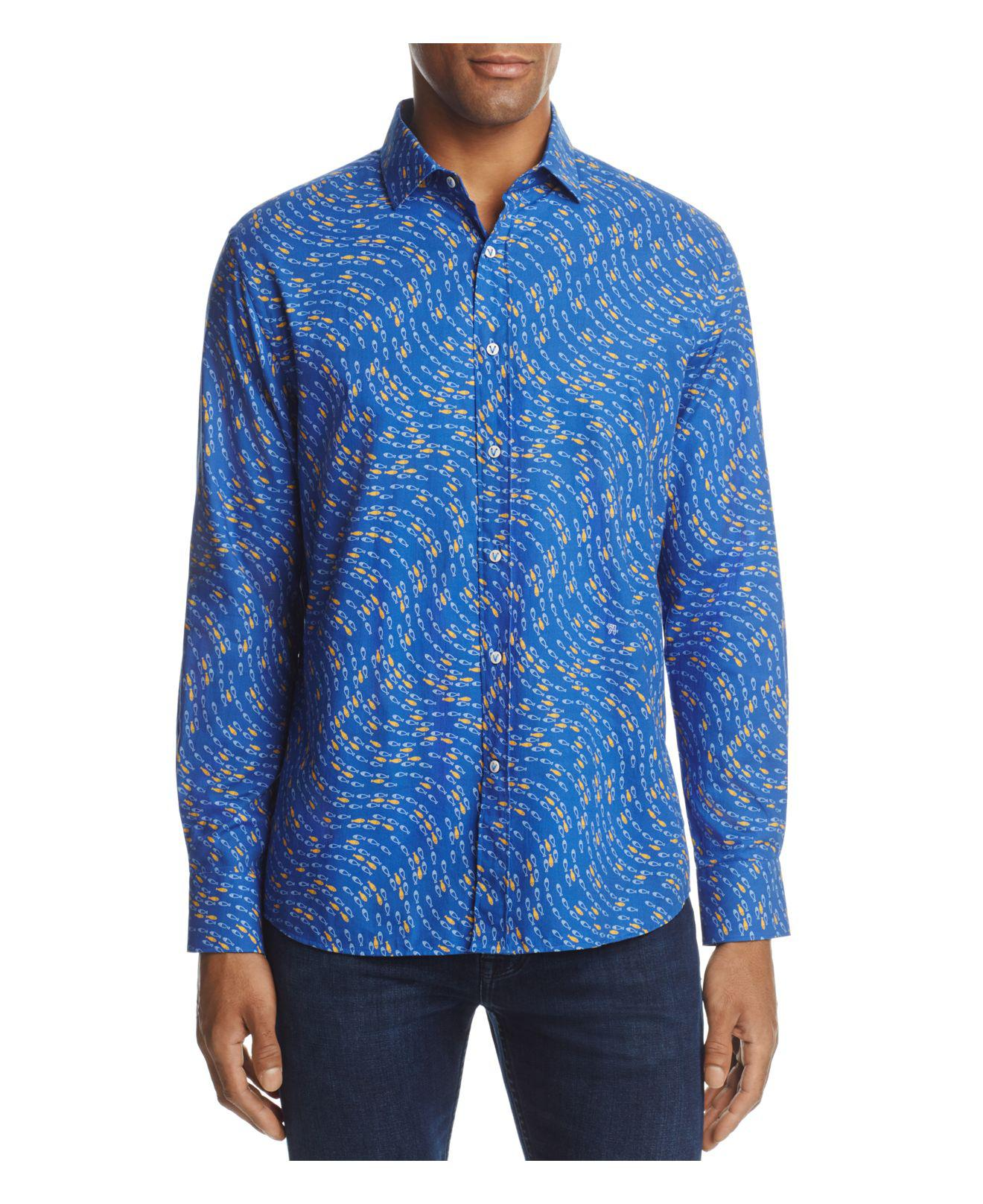 Vilebrequin fish print long sleeve button down shirt in for Button down fishing shirts