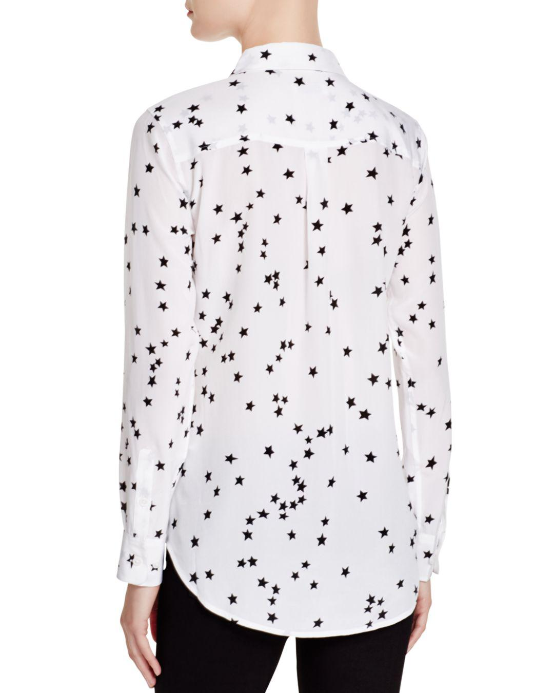29246c2758505 Equipment  slim Signature  Star Print Silk Shirt in White - Save  56.58914728682171% - Lyst
