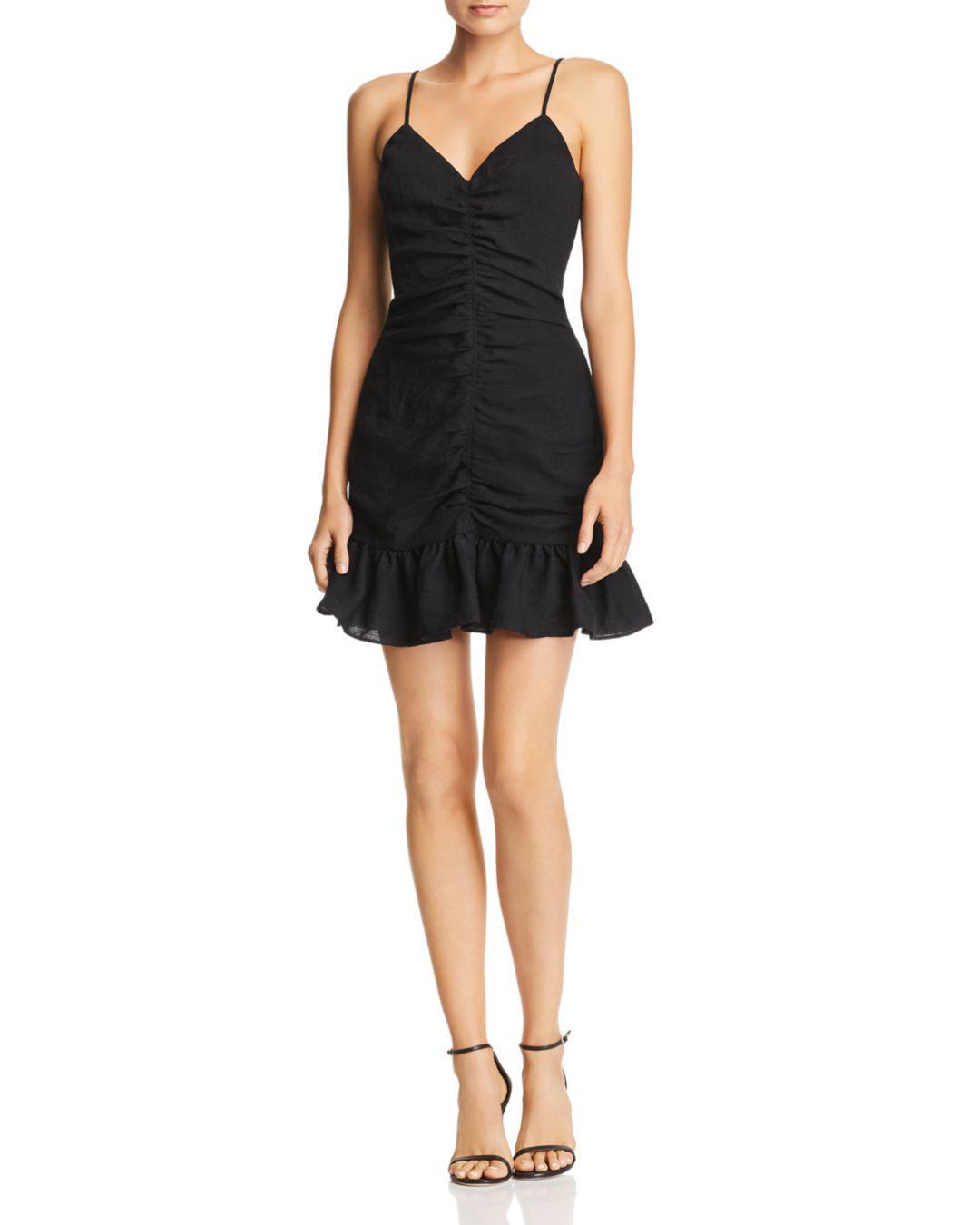 5b9a34ae8d7 The East Order Celine Ruched Ruffled Mini Dress in Black - Lyst
