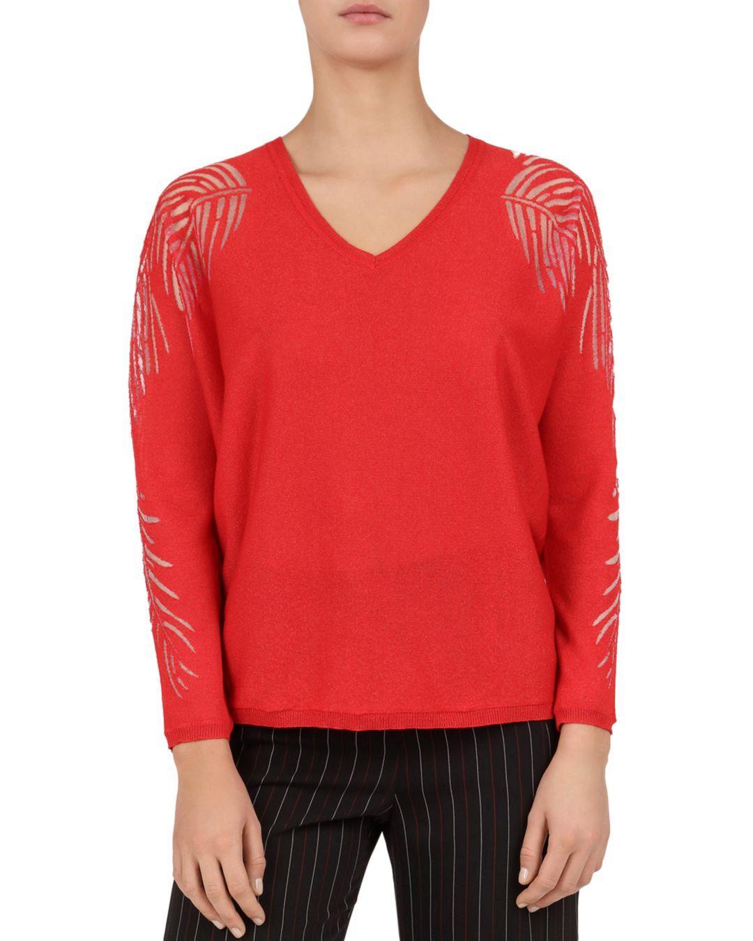 384f0ba8c Lyst - Gerard Darel Joyce Leaf-pattern Sweater in Red