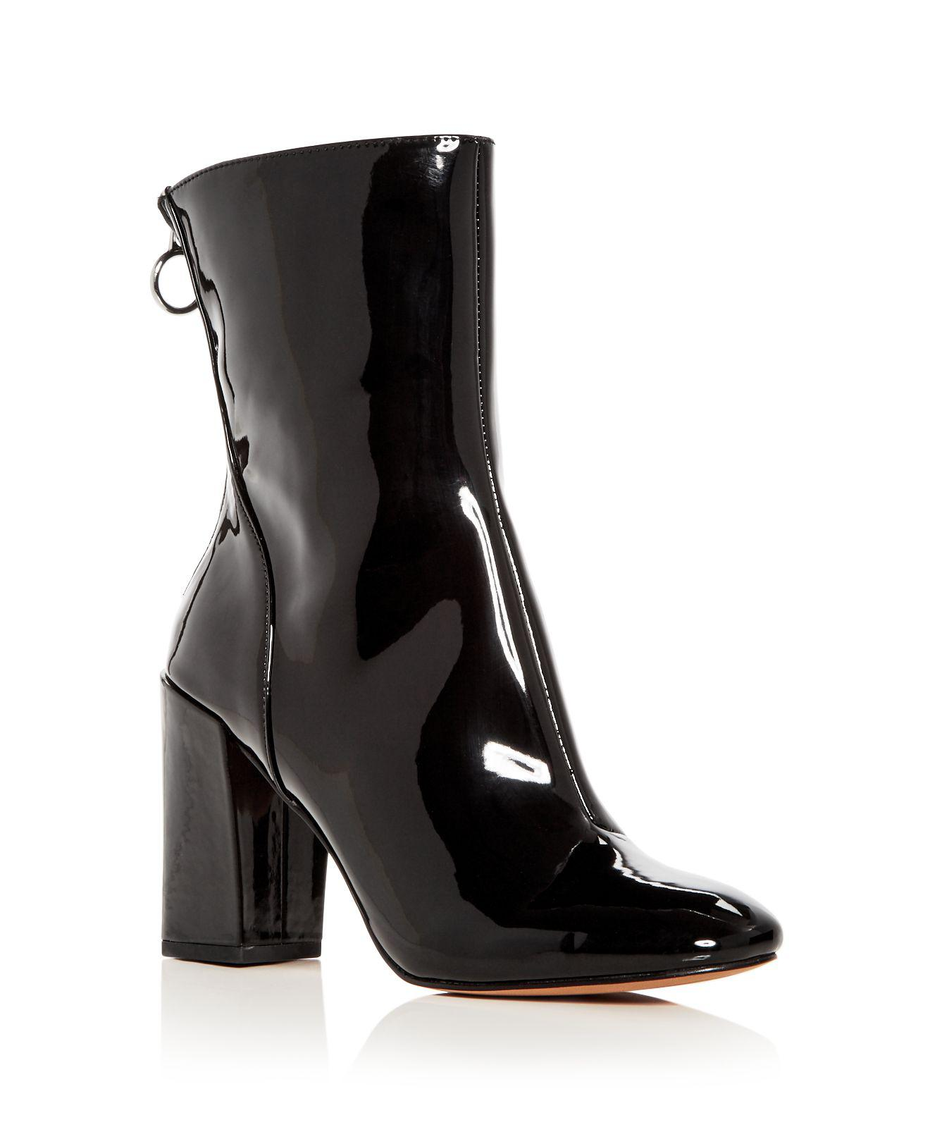AVEC LES FILLES Women's Raina Patent Leather High Block Heel Booties EJm1ljp