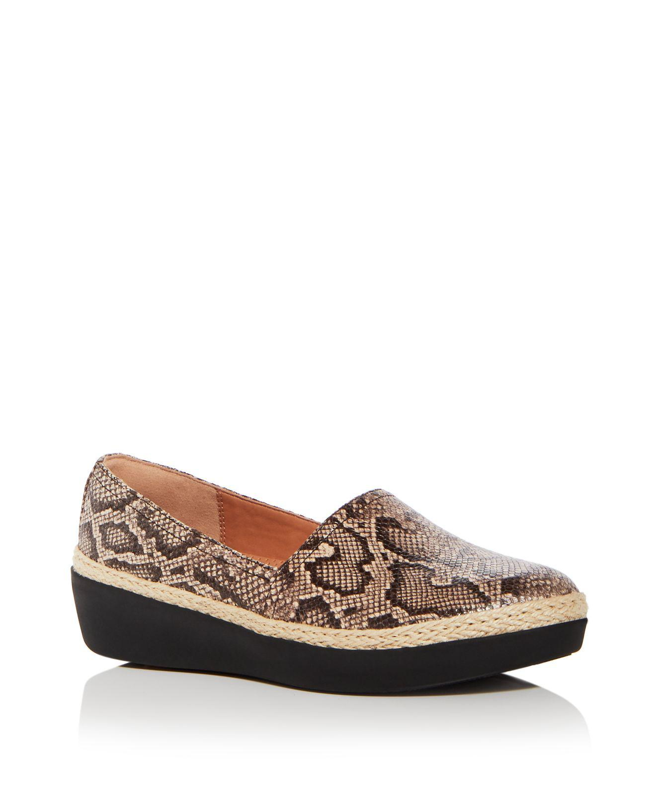 FitFlop Women's Casa Snake Embossed Leather Wedge Platform Loafers oBUxht2