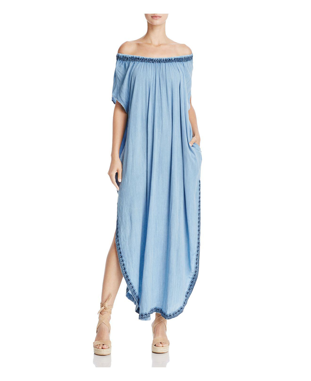 6c64e48970 Muche Et Muchette Off-the-shoulder Embroidered Maxi Dress in Blue - Lyst