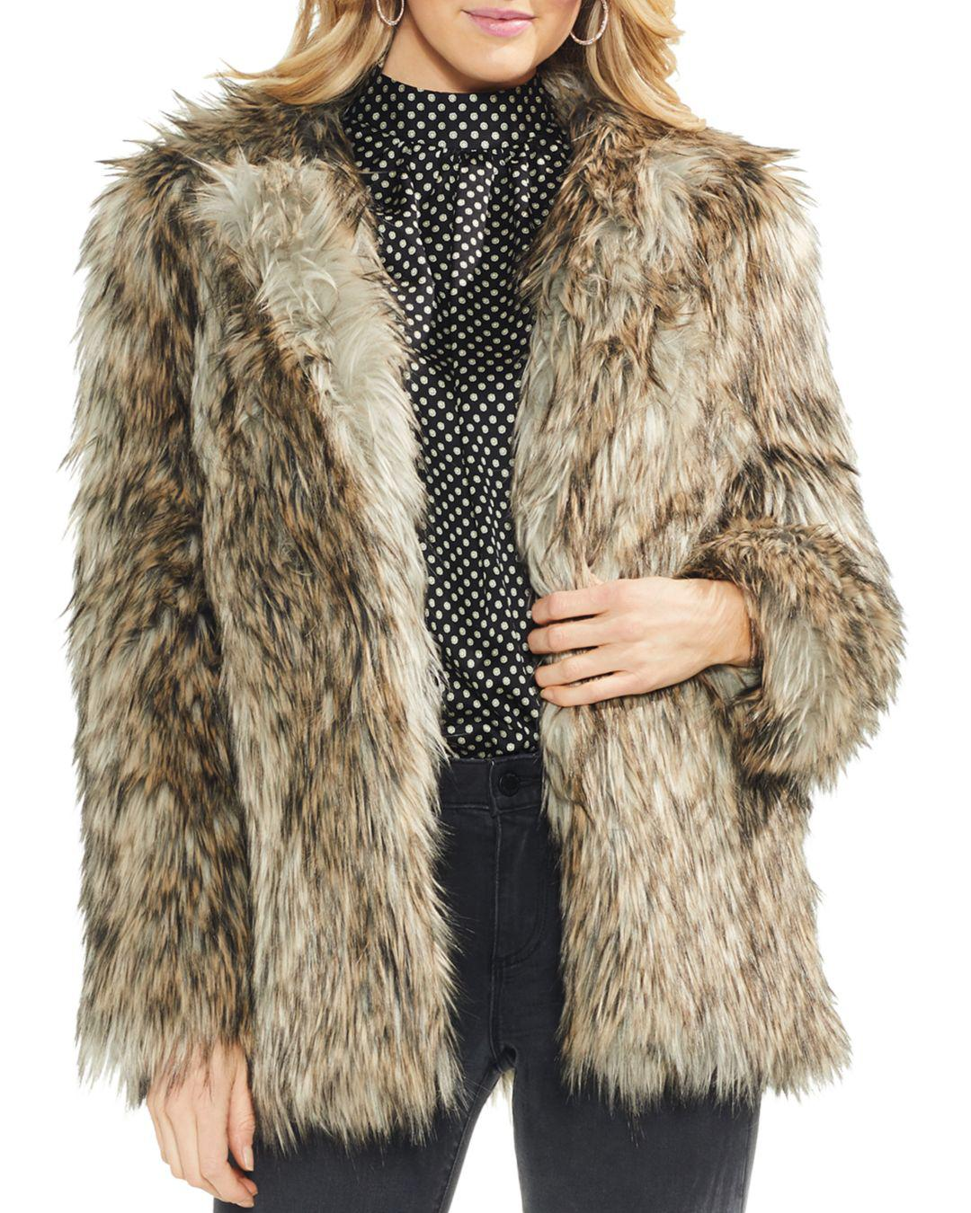 c6a7f17feb1 Lyst - Vince Camuto Faux Fur Jacket in Brown - Save 58%
