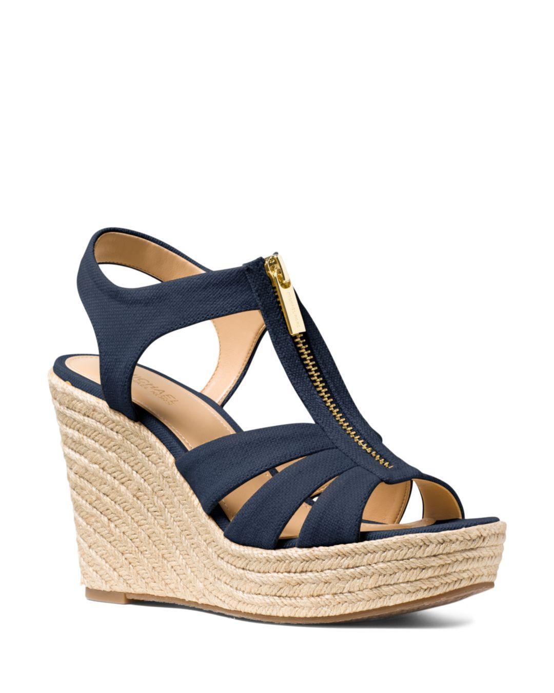 1d5387c65f3b MICHAEL Michael Kors. Blue Women s Berkley Woven Espadrille Wedge Sandals