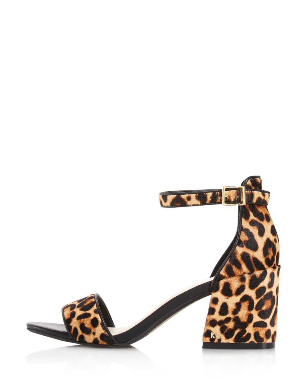 1dd19cc0d8f60 Kenneth Cole Women s Hannon Leopard Block Heel Sandals in Natural - Lyst