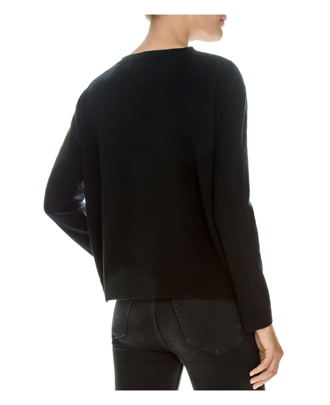 Lyst - The Kooples Lace-inset Wool-blend Sweater in Black 382f974be