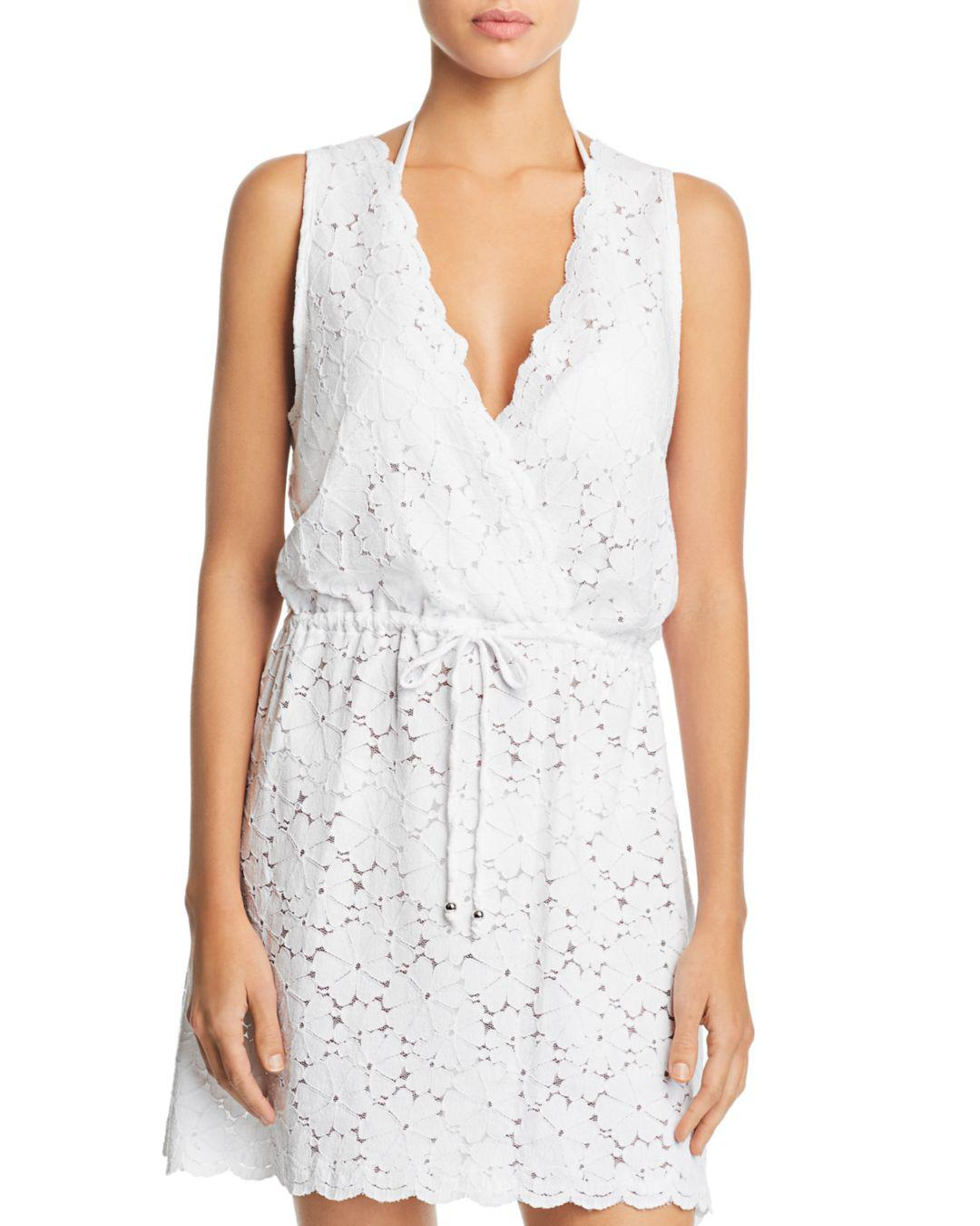 09d9ceb224b7b Lyst - J Valdi Flower Child Sleeveless Lace Swim Cover-up in White