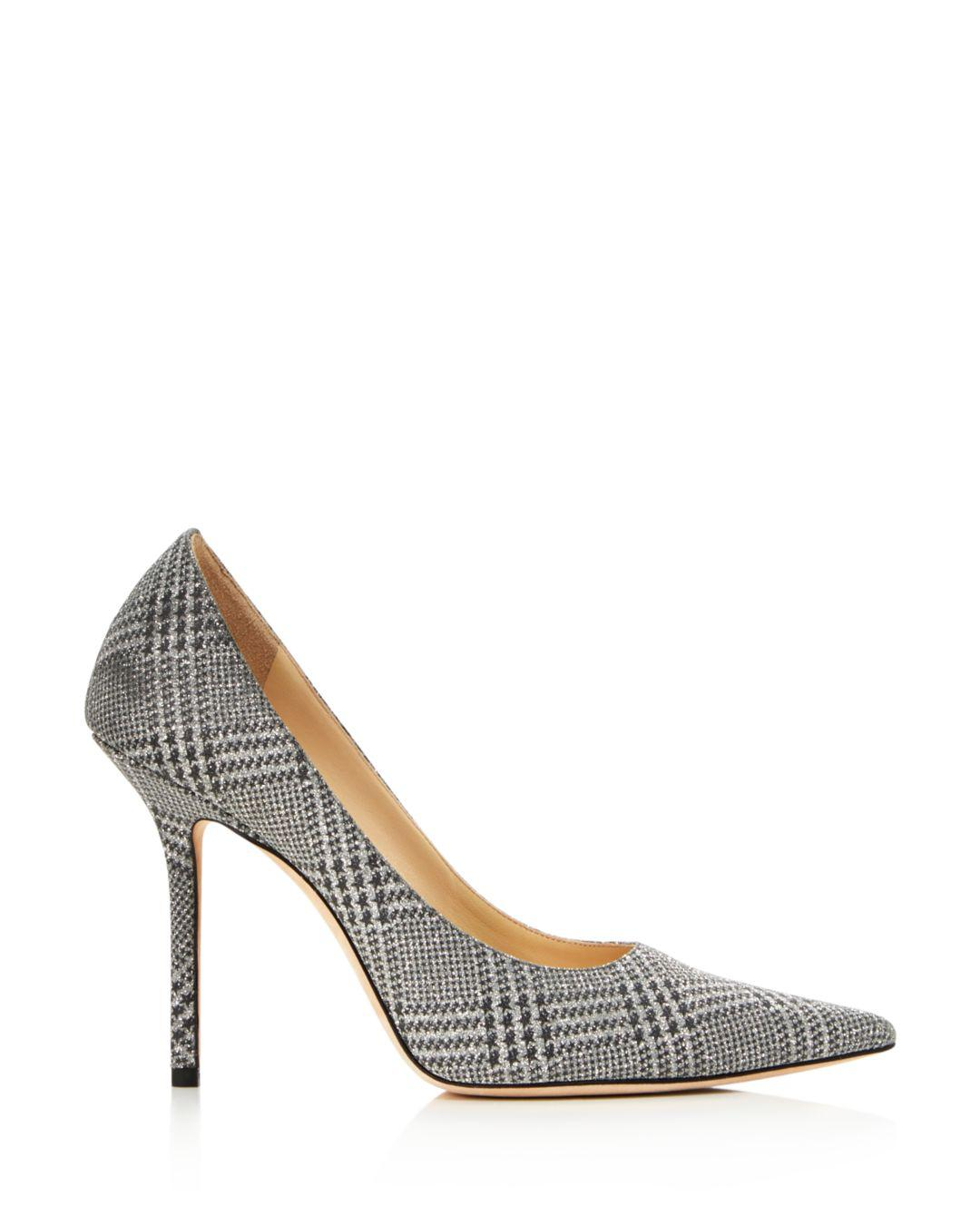 acf4a598315 Lyst - Jimmy Choo Women s Love 100 Pointed Toe Checkered Pumps in Metallic