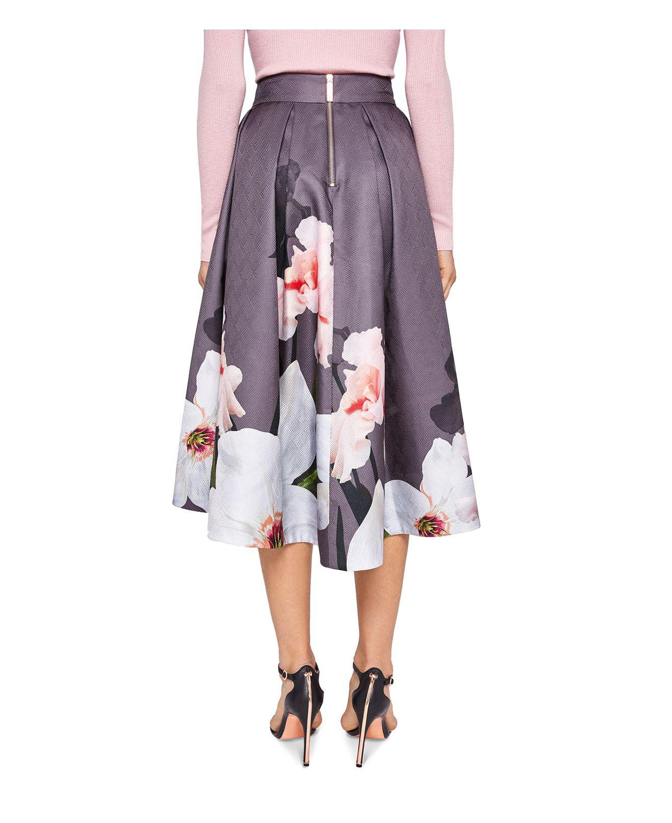 b628a1f95 Ted Baker Thali Chatsworth Bloom Skirt in Gray - Lyst