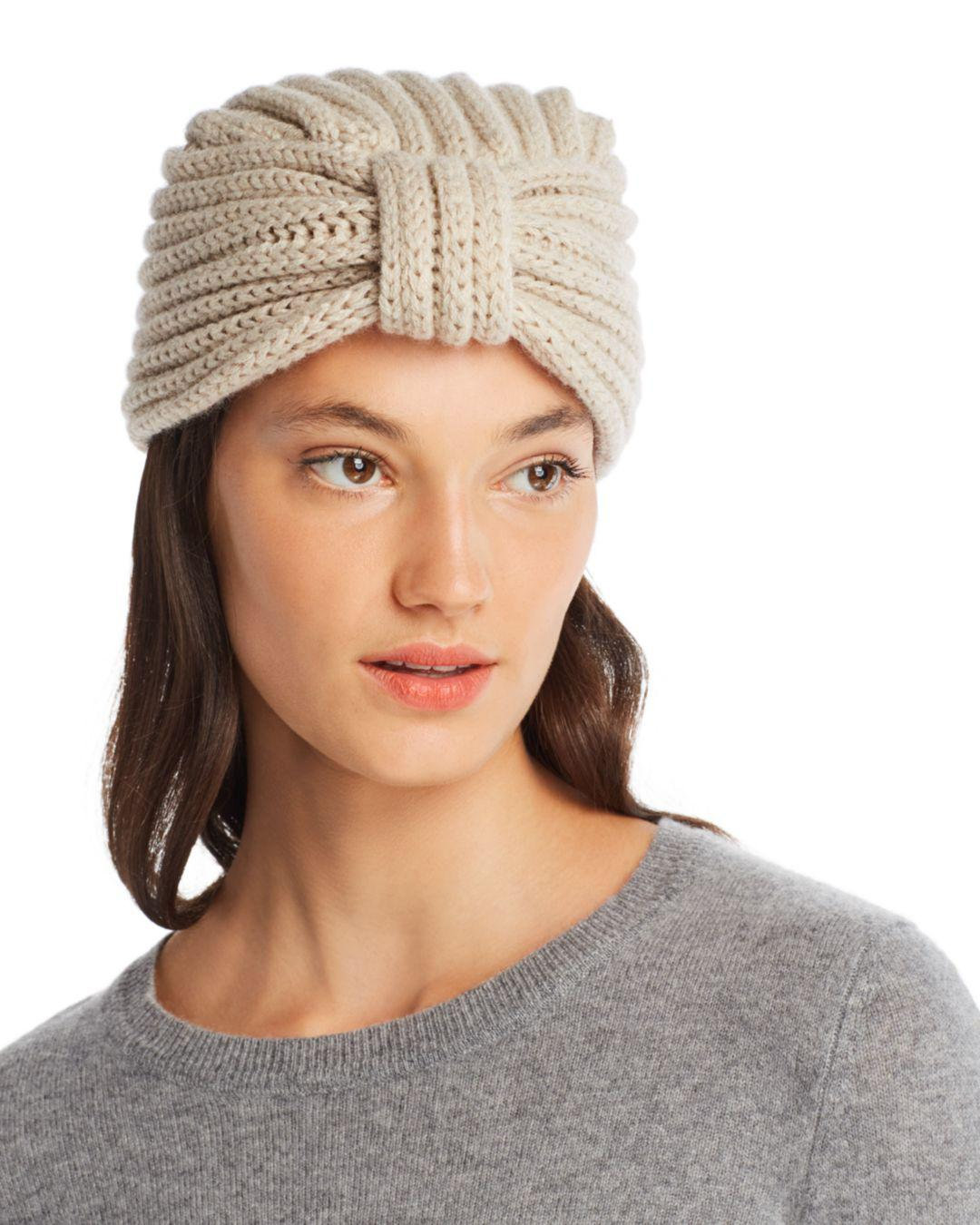 d69d775a952e Rosie Sugden Knit Cashmere Turban Hat in Natural - Lyst