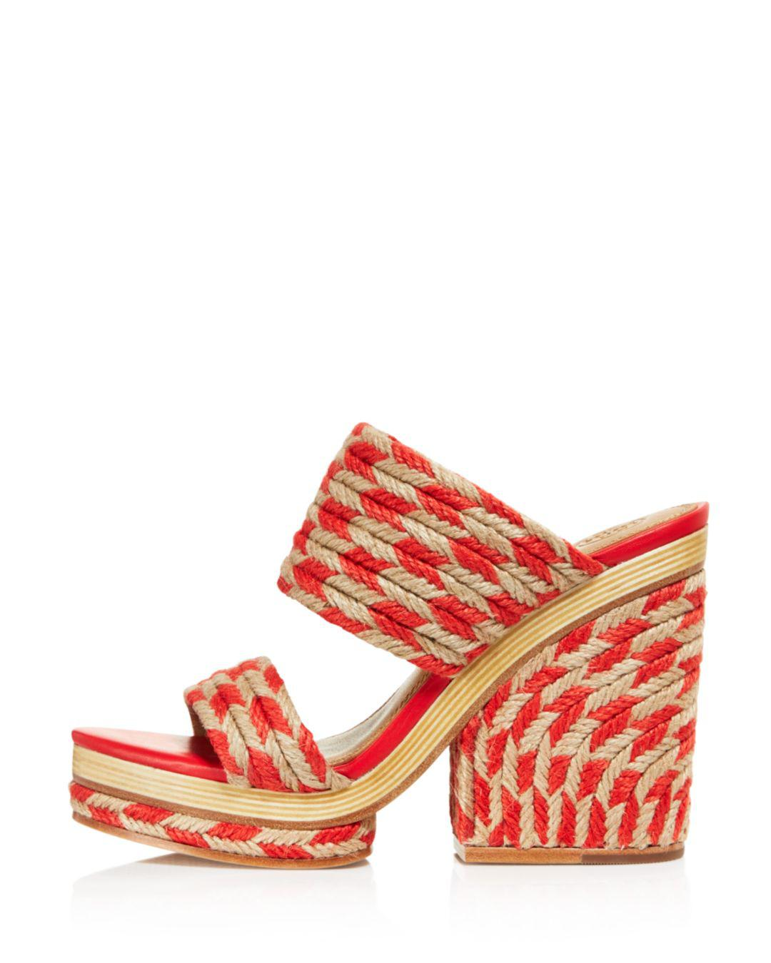 c2fe993bbbf2 Lyst - Tory Burch Women s Lola Woven Jute   Leather High-heel Slide ...