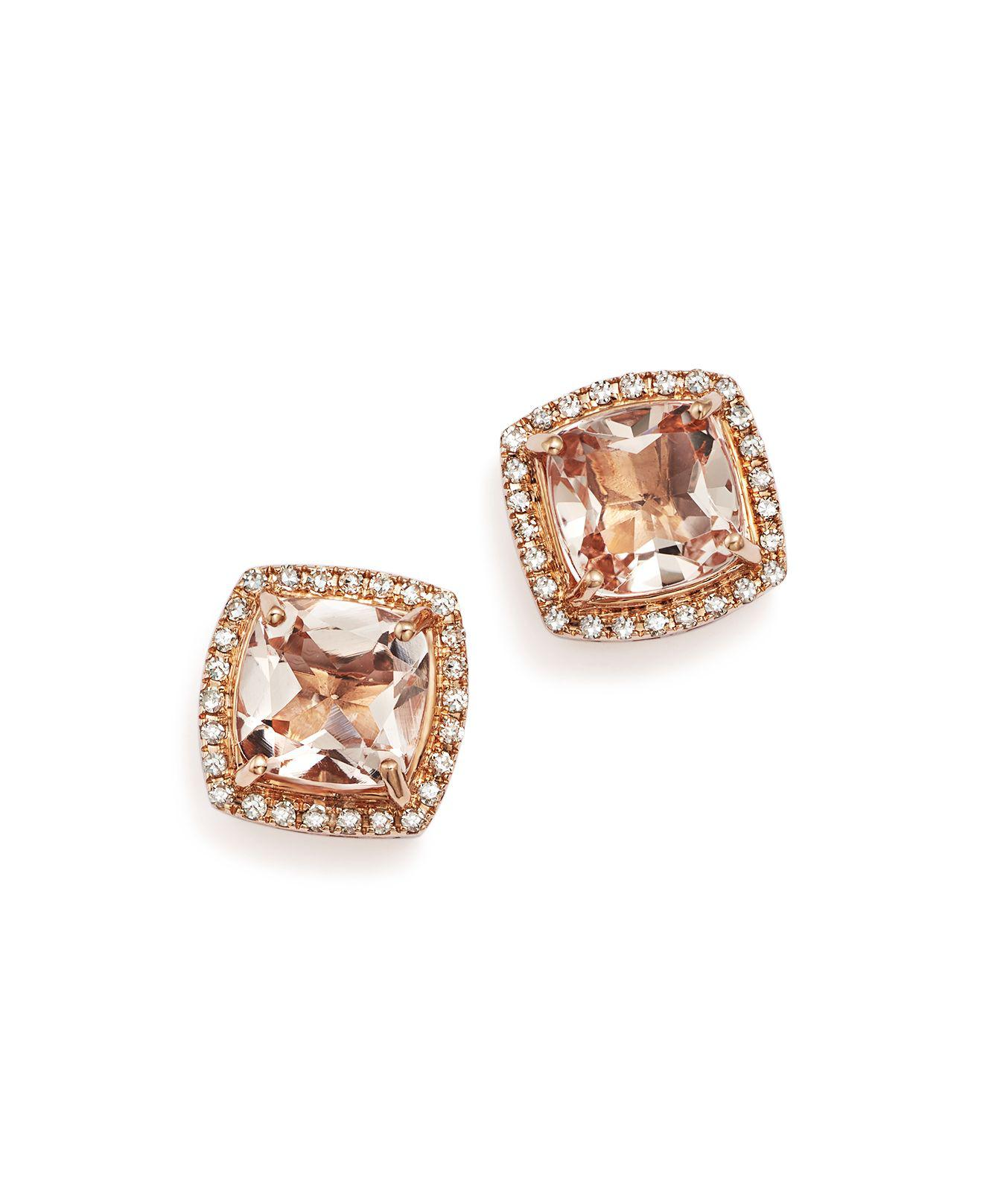 halo rondels rose morganite diamond gold earrings products stud with