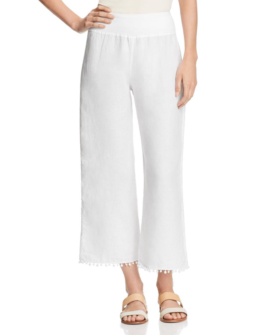 dbf45dab64 Three Dots Linen Pom-pom Trimmed Cropped Pants in White - Lyst