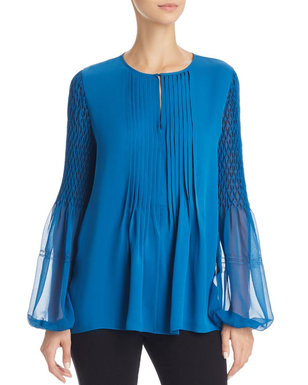 68f1675aaf9011 Elie Tahari Romeo Pleated Silk Blouse in Blue - Lyst