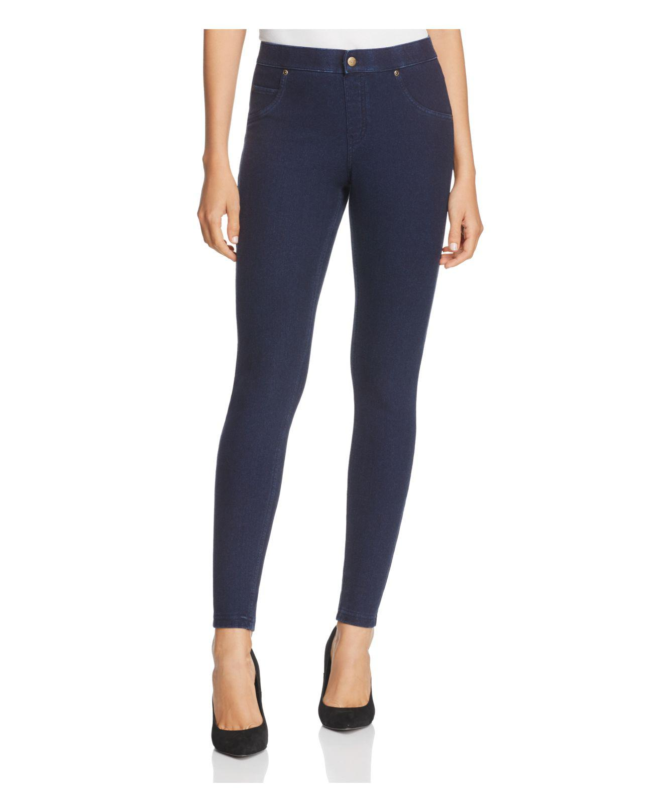 e50354ef52e711 Lyst - Hue Fleece Lined Denim Leggings in Blue