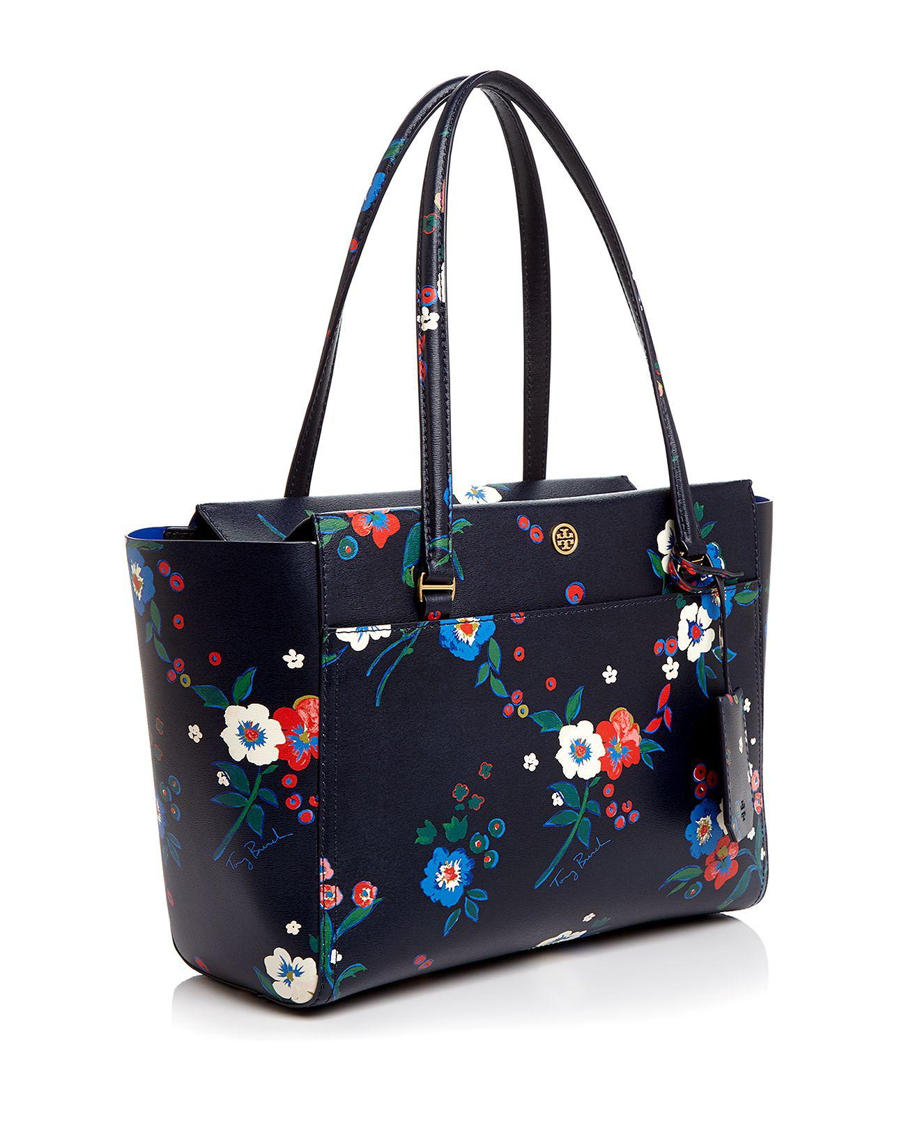 e75409b1bc0 Tory Burch Parker Floral Print Small Tote in Blue - Lyst
