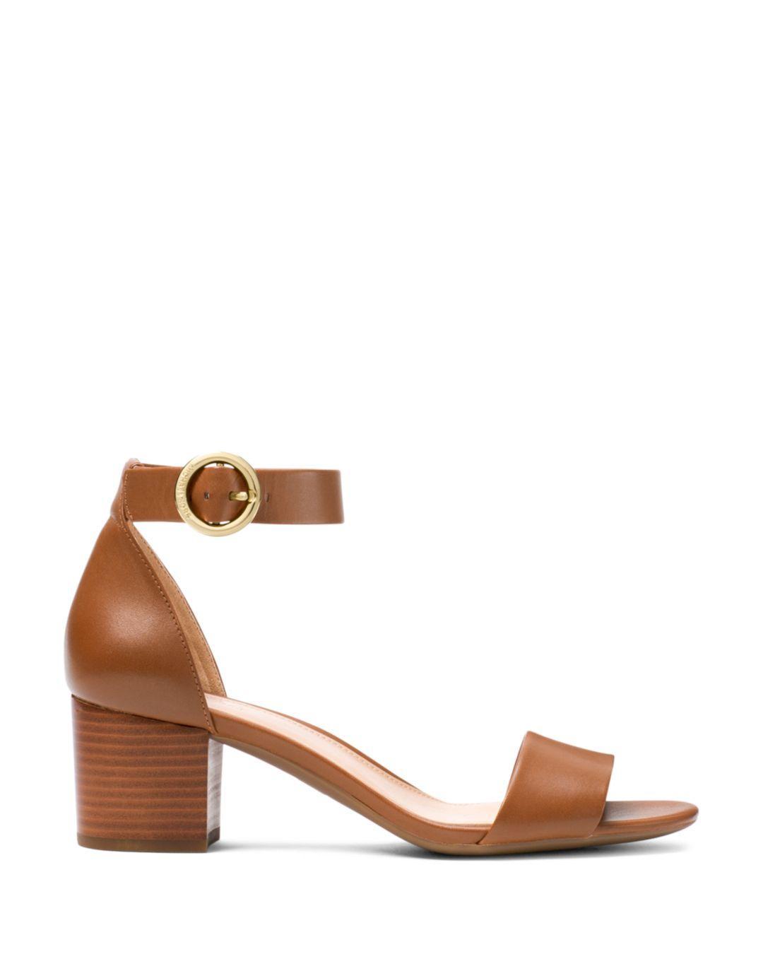 7b88424a07a Lyst - MICHAEL Michael Kors Women s Lena Low Block Heel Sandals in Brown