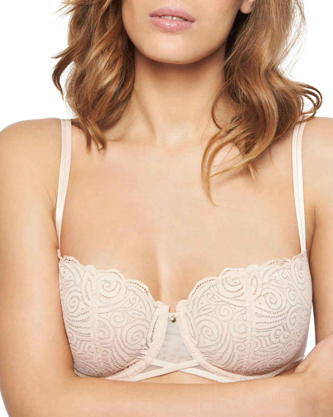 60b1143494 Lyst - Chantelle Pyramide Lace Unlined Demi Underwire Bra in Natural