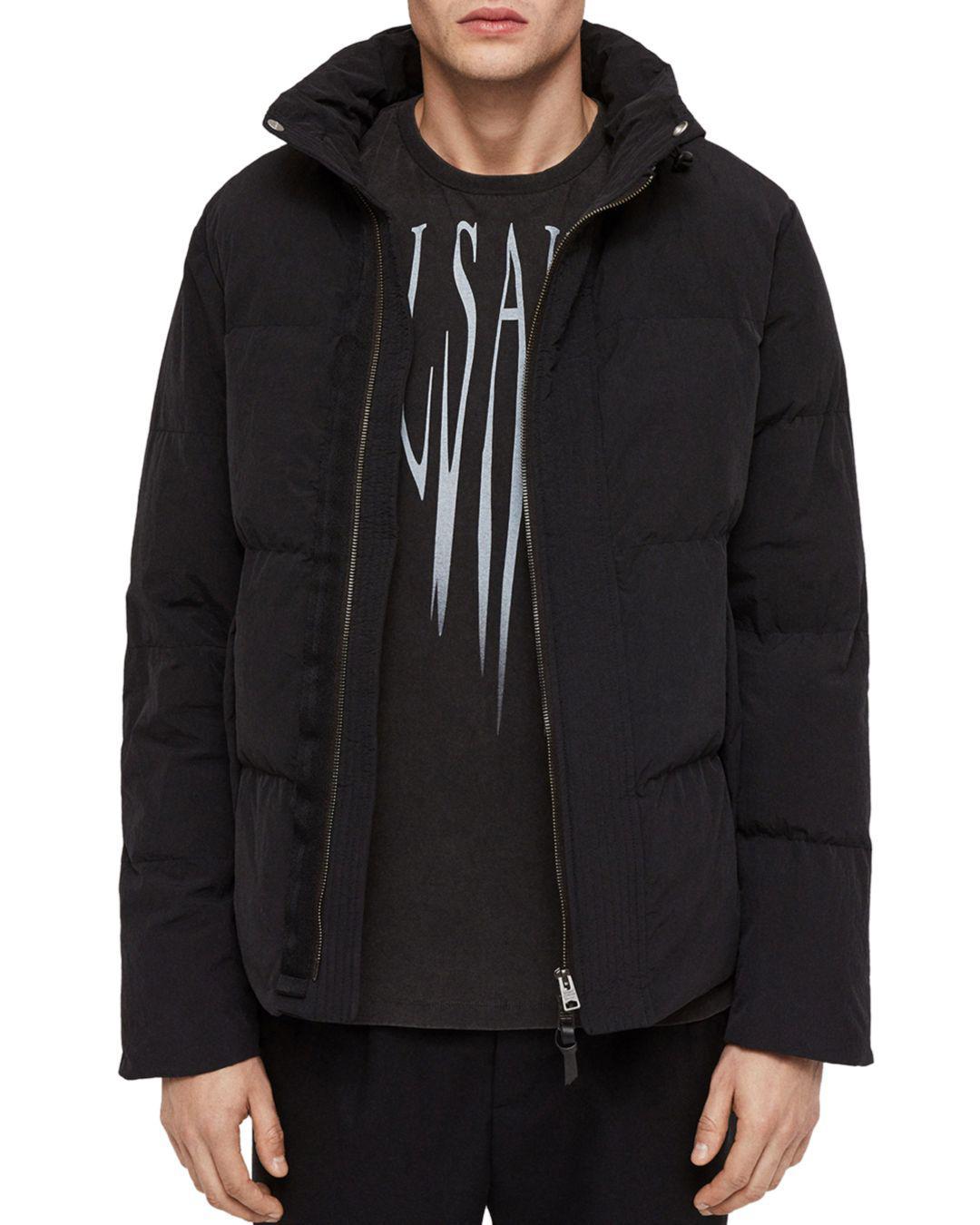 ea77b41c96 AllSaints Valdek Puffer Jacket in Black for Men - Lyst