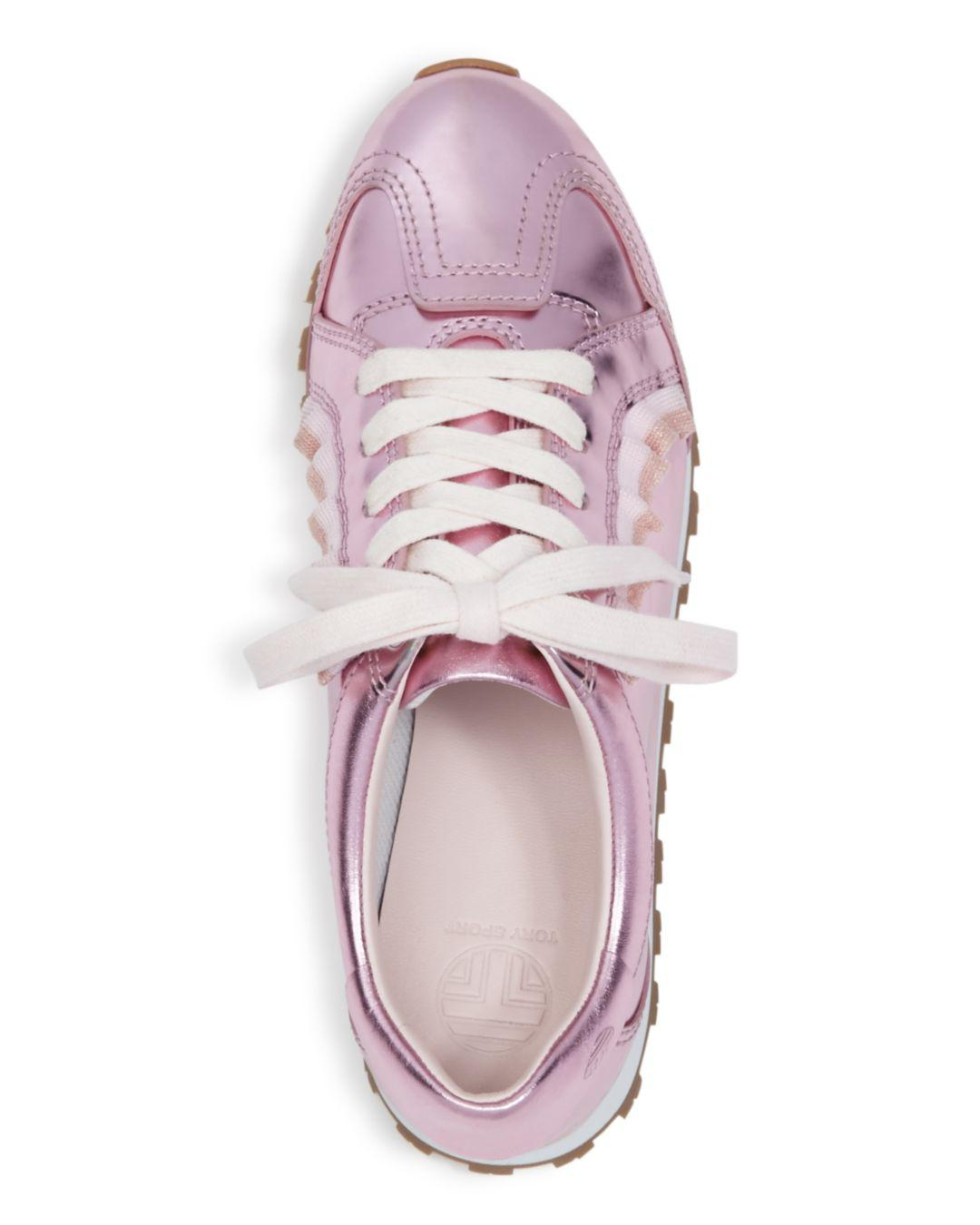 2d54ace8117 Tory Sport - Metallic Women s Ruffle Trainer Leather Lace Up Sneakers -  Lyst. View fullscreen