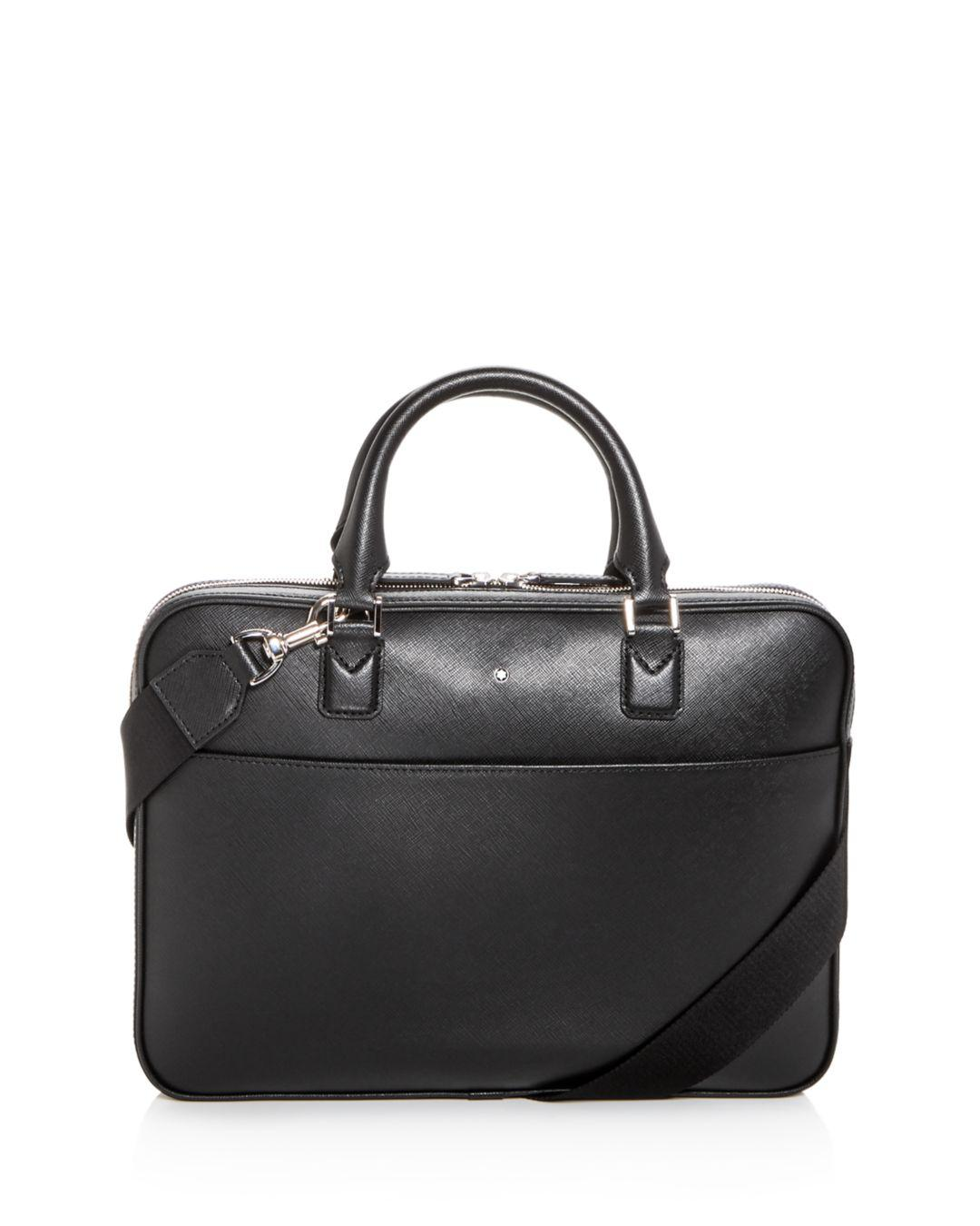 a526f0278add Montblanc - Black Sartorial Ultra Slim Embossed Leather Briefcase for Men -  Lyst. View fullscreen