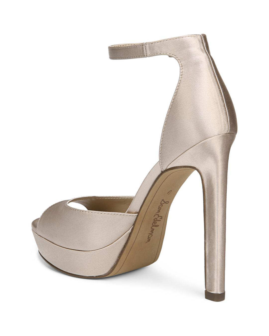 39456113c12086 Lyst - Sam Edelman Women s Wallace Satin Platform High-heel Sandals ...