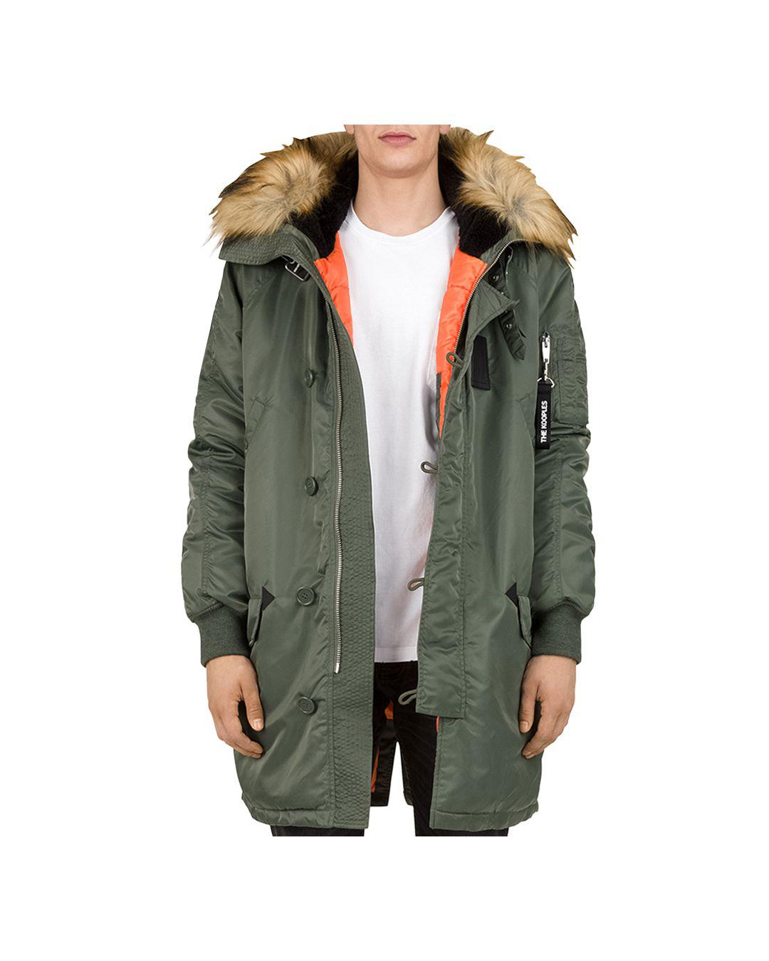 614927419a88 The Kooples Oversized Contrast-fabric Parka Jacket in Green for Men ...