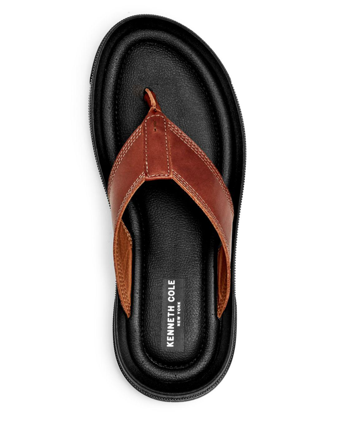 1160d59a39e8 Lyst - Kenneth Cole Men s Yard Leather Flip-flops in Brown for Men