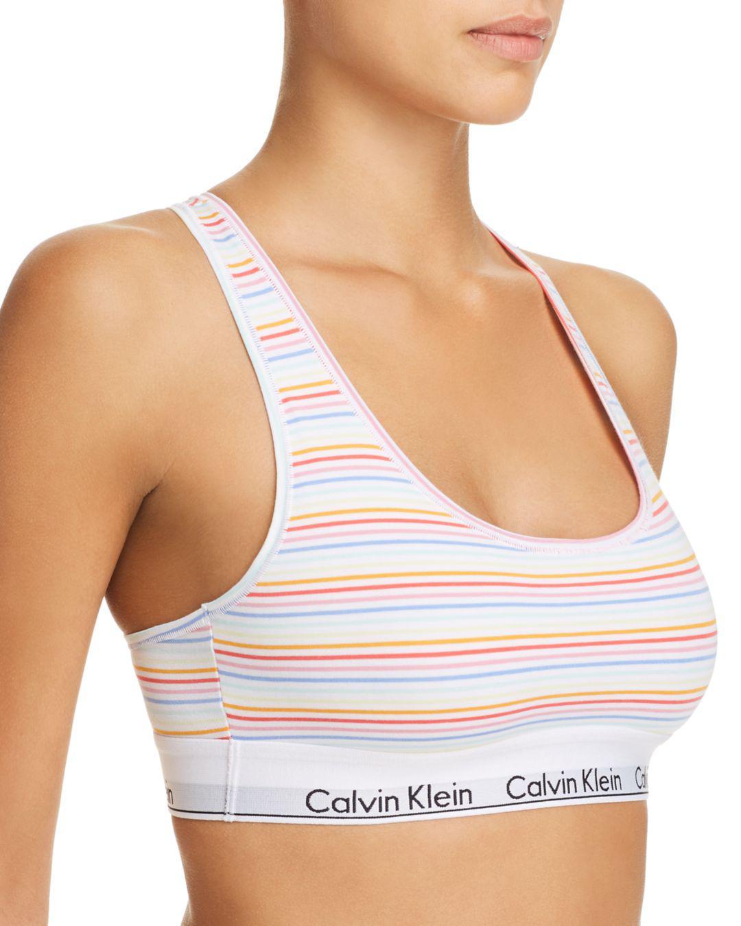 101ae087011 Calvin Klein Modern Cotton Pride Bralette in White - Lyst