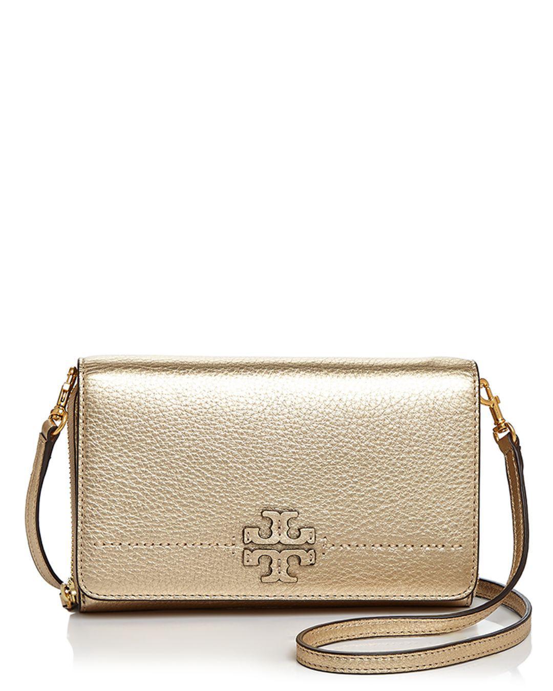 8070d1fb5c4b Lyst - Tory Burch Mcgraw Flat Leather Wallet Crossbody in Metallic ...